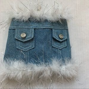 5th ave pet denim jacket fur collar size xs
